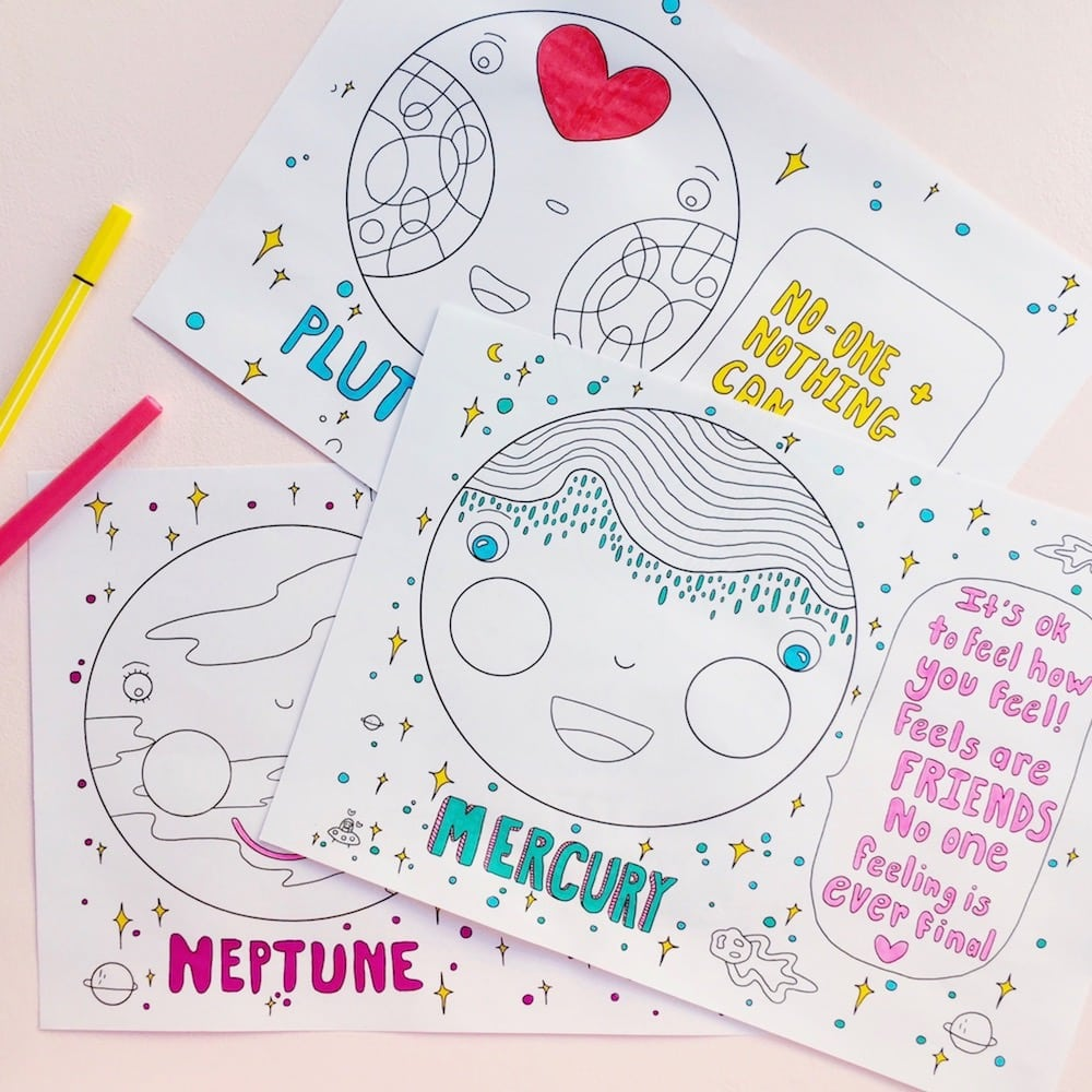 Malbuch Erwachsene Positive Planets